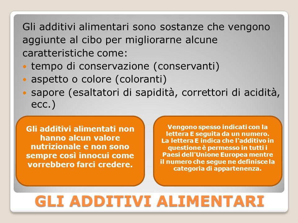 GLI ADDITIVI ALIMENTARI Gli additivi alimentari sono sostanze che vengono aggiunte al cibo per migliorarne alcune caratteristiche come: tempo di conse