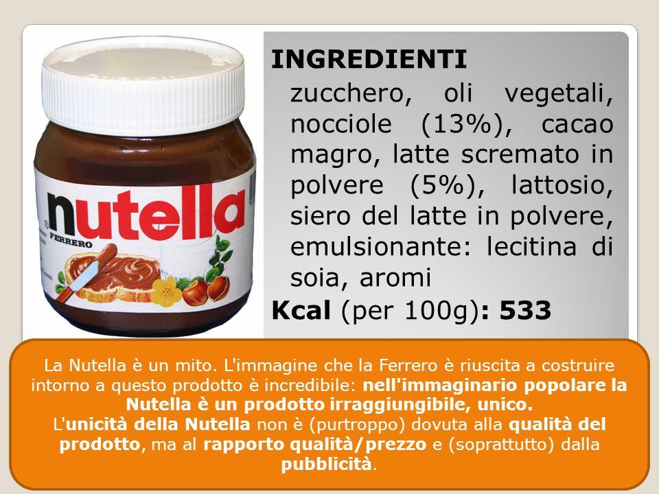 INGREDIENTI zucchero, oli vegetali, nocciole (13%), cacao magro, latte scremato in polvere (5%), lattosio, siero del latte in polvere, emulsionante: l