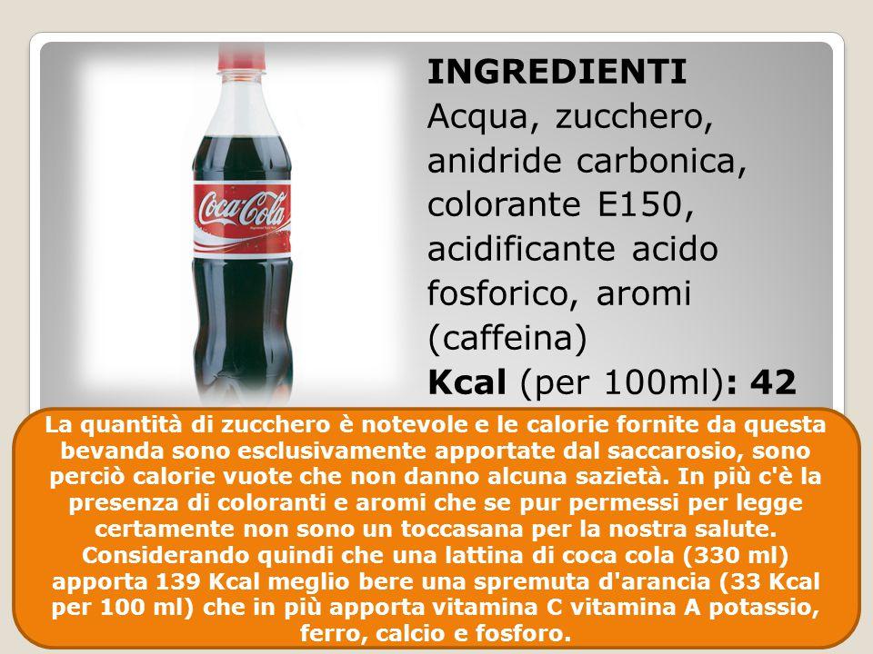 INGREDIENTI Acqua, zucchero, anidride carbonica, colorante E150, acidificante acido fosforico, aromi (caffeina) Kcal (per 100ml): 42 La quantità di zu