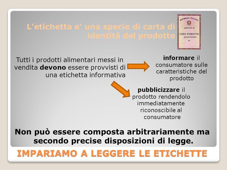 L'etichetta e' una specie di carta di identità del prodotto Tutti i prodotti alimentari messi in vendita devono essere provvisti di una etichetta info