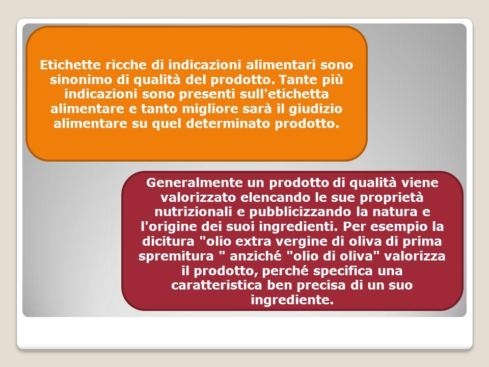 Etichette ricche di indicazioni alimentari sono sinonimo di qualità del prodotto. Tante più indicazioni sono presenti sull'etichetta alimentare e tant