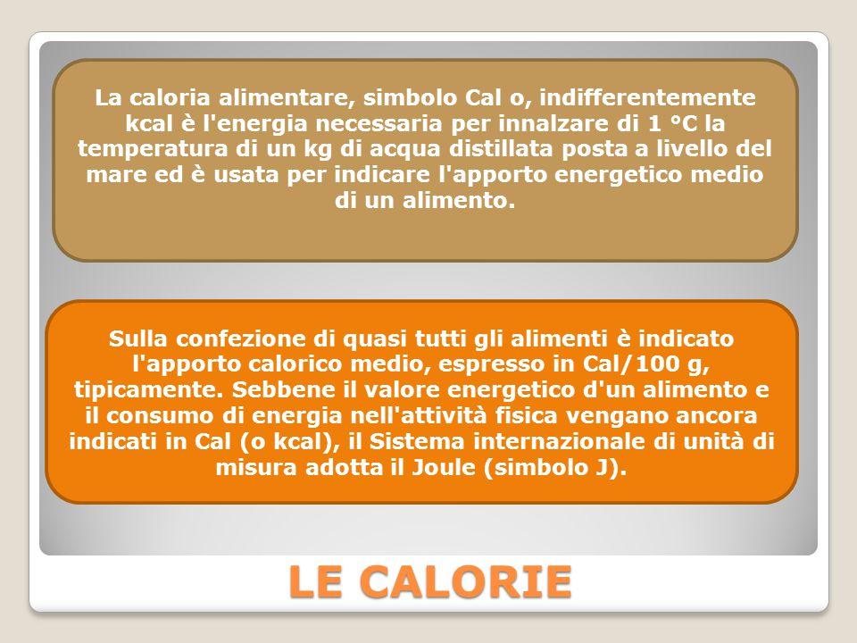 LE CALORIE La caloria alimentare, simbolo Cal o, indifferentemente kcal è l'energia necessaria per innalzare di 1 °C la temperatura di un kg di acqua