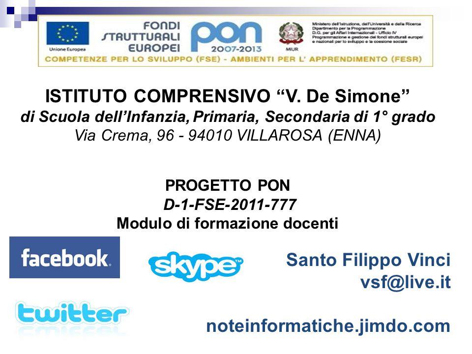 """ISTITUTO COMPRENSIVO """"V. De Simone"""" di Scuola dell'Infanzia, Primaria, Secondaria di 1° grado Via Crema, 96 - 94010 VILLAROSA (ENNA) PROGETTO PON D-1-"""