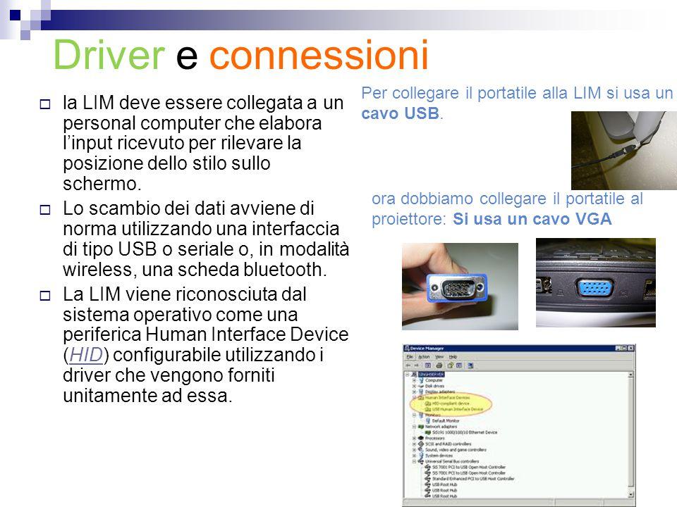 Driver e connessioni  la LIM deve essere collegata a un personal computer che elabora l'input ricevuto per rilevare la posizione dello stilo sullo sc
