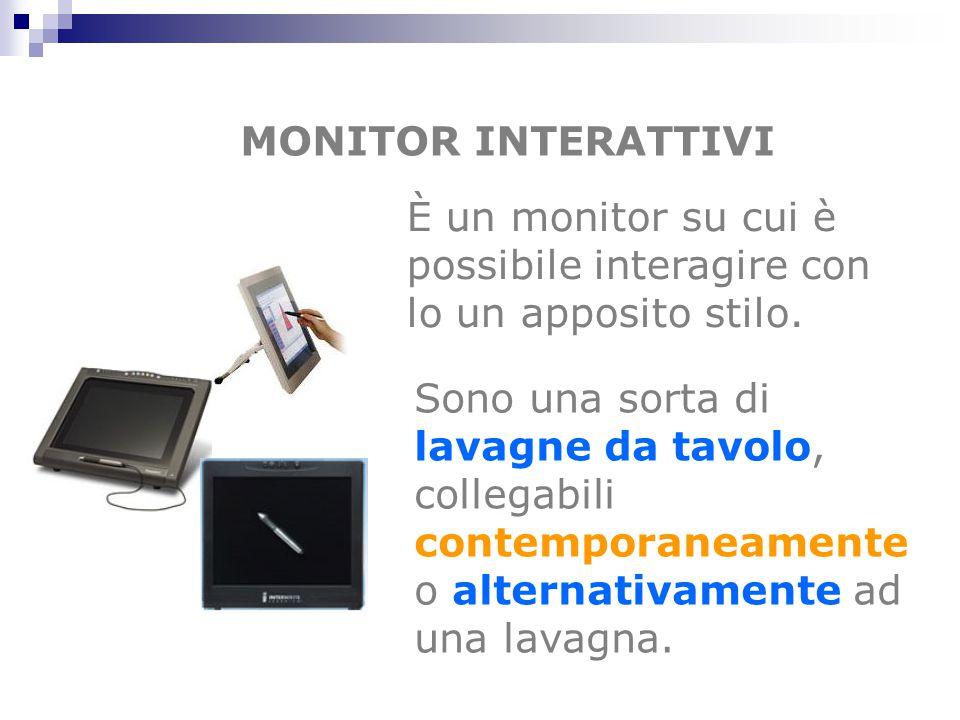 MONITOR INTERATTIVI È un monitor su cui è possibile interagire con lo un apposito stilo. Sono una sorta di lavagne da tavolo, collegabili contemporane
