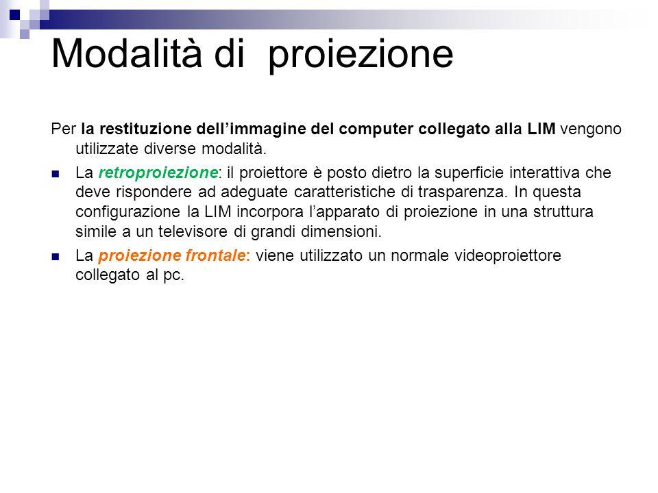 Modalità di proiezione Per la restituzione dell'immagine del computer collegato alla LIM vengono utilizzate diverse modalità. La retroproiezione: il p