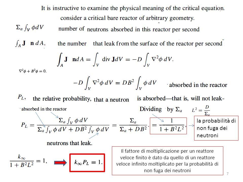 7 Il fattore di moltiplicazione per un reattore veloce finito è dato da quello di un reattore veloce infinito moltiplicato per la probabilità di non f