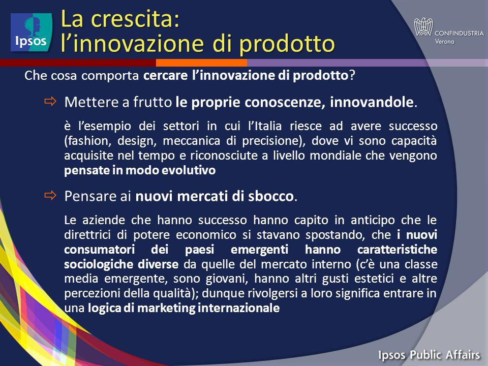 La crescita: l'innovazione di prodotto Che cosa comporta cercare l'innovazione di prodotto.