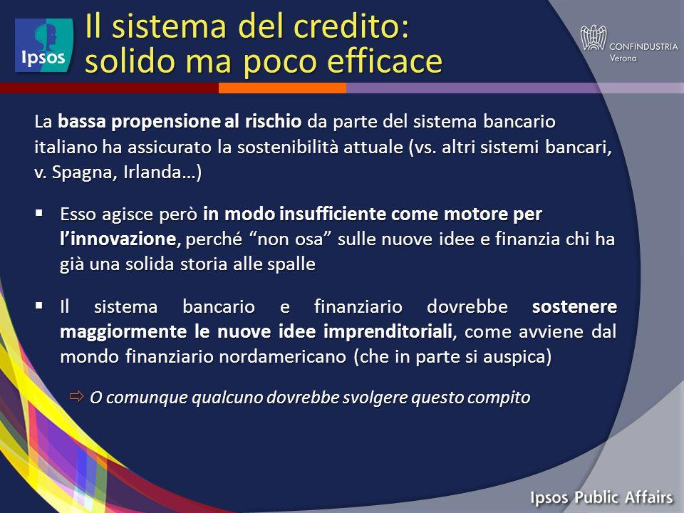 Il sistema del credito: solido ma poco efficace La bassa propensione al rischio da parte del sistema bancario italiano ha assicurato la sostenibilità attuale (vs.
