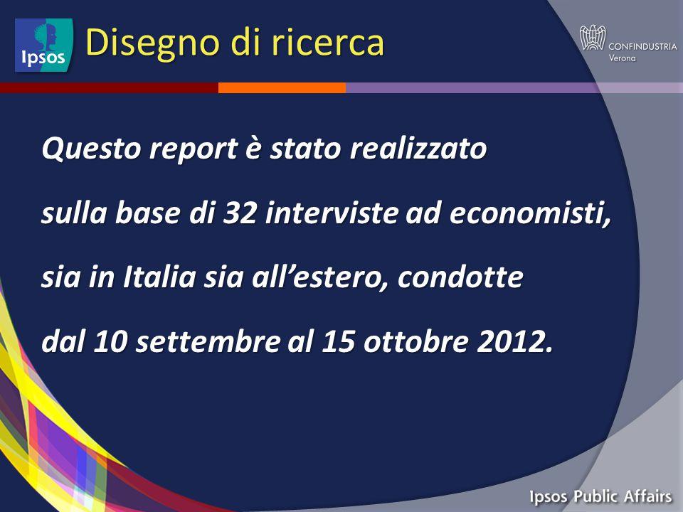Disegno di ricerca Questo report è stato realizzato sulla base di 32 interviste ad economisti, sia in Italia sia all'estero, condotte dal 10 settembre al 15 ottobre 2012.