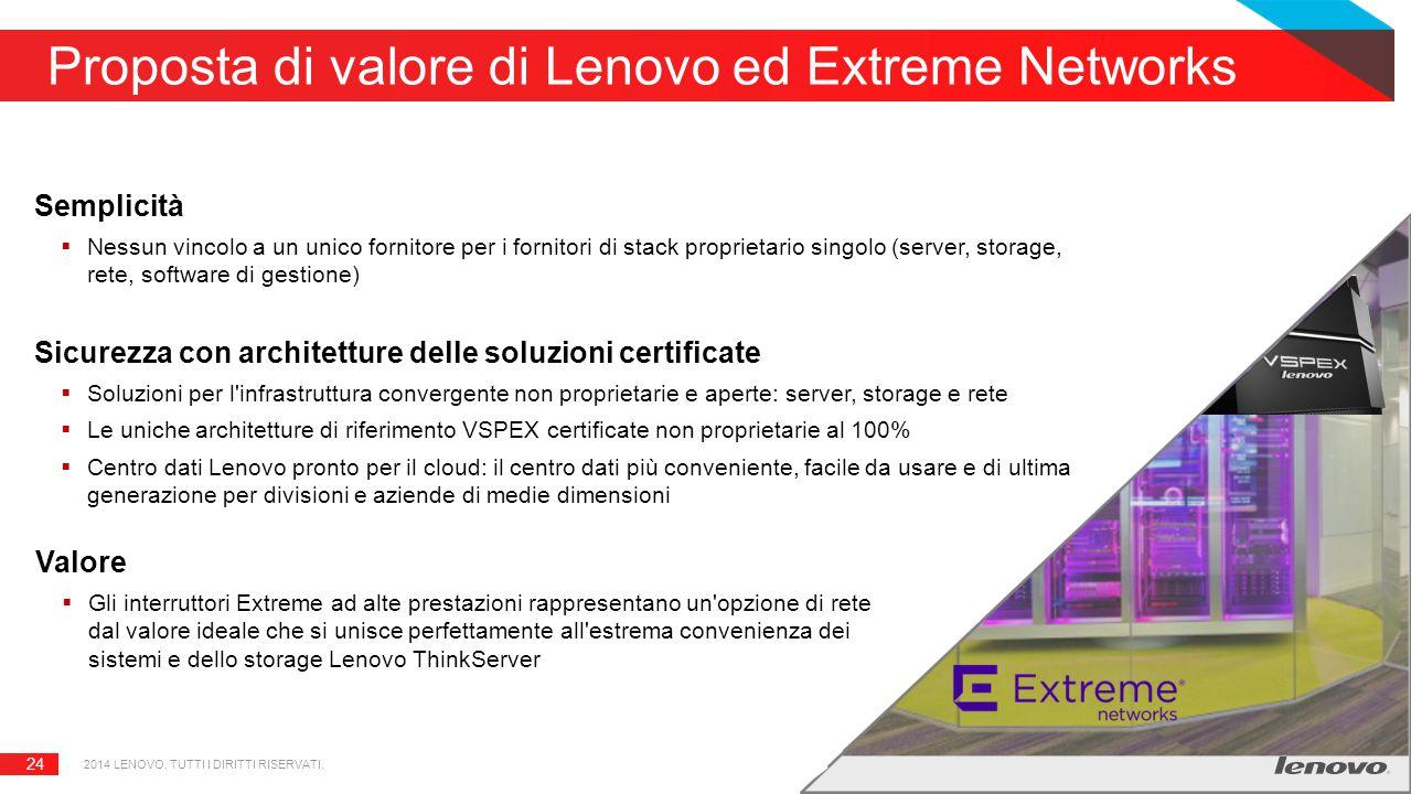 24 Proposta di valore di Lenovo ed Extreme Networks Semplicità  Nessun vincolo a un unico fornitore per i fornitori di stack proprietario singolo (server, storage, rete, software di gestione) Sicurezza con architetture delle soluzioni certificate  Soluzioni per l infrastruttura convergente non proprietarie e aperte: server, storage e rete  Le uniche architetture di riferimento VSPEX certificate non proprietarie al 100%  Centro dati Lenovo pronto per il cloud: il centro dati più conveniente, facile da usare e di ultima generazione per divisioni e aziende di medie dimensioni Valore  Gli interruttori Extreme ad alte prestazioni rappresentano un opzione di rete dal valore ideale che si unisce perfettamente all estrema convenienza dei sistemi e dello storage Lenovo ThinkServer 2014 LENOVO.