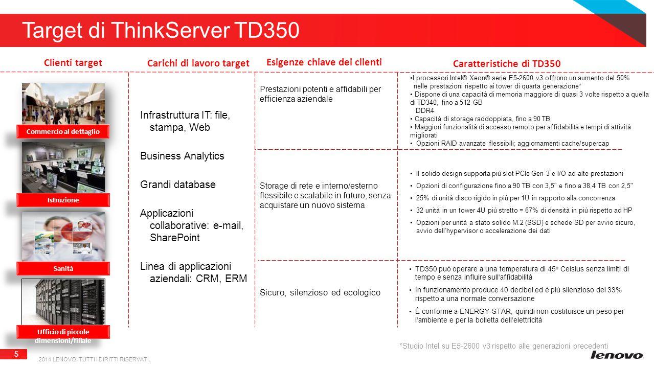 5 Target di ThinkServer TD350 2014 LENOVO. TUTTI I DIRITTI RISERVATI.