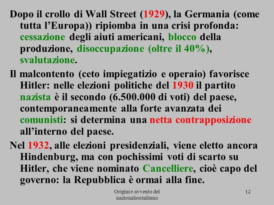 Origini e avvento del nazionalsocialismo 12 Dopo il crollo di Wall Street (1929), la Germania (come tutta l'Europa)) ripiomba in una crisi profonda: c