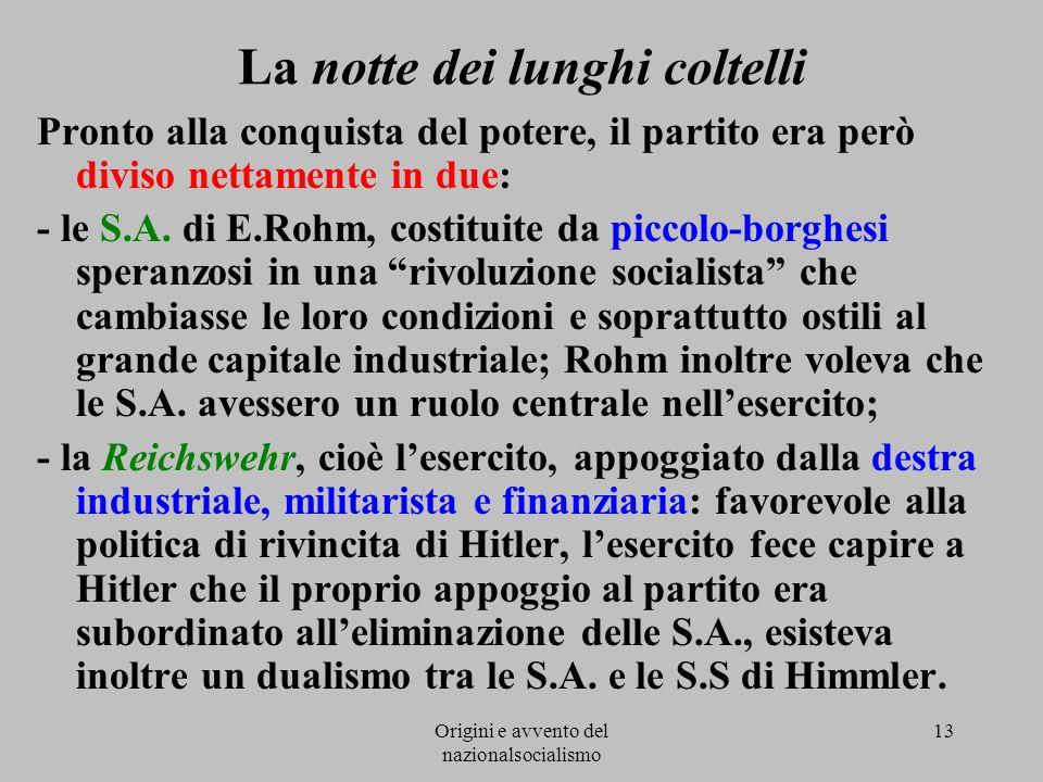 Origini e avvento del nazionalsocialismo 13 La notte dei lunghi coltelli Pronto alla conquista del potere, il partito era però diviso nettamente in du