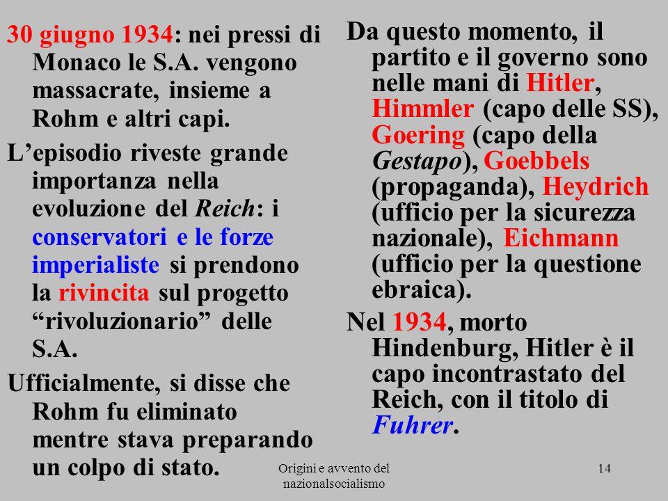 Origini e avvento del nazionalsocialismo 14 30 giugno 1934: nei pressi di Monaco le S.A. vengono massacrate, insieme a Rohm e altri capi. L'episodio r