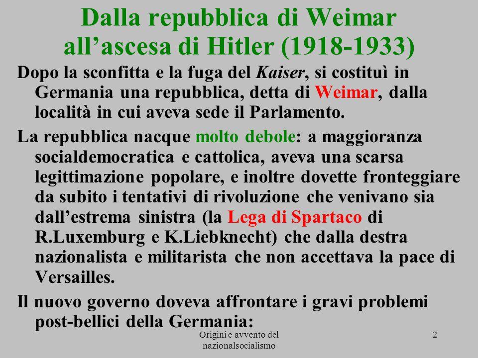Origini e avvento del nazionalsocialismo 2 Dalla repubblica di Weimar all'ascesa di Hitler (1918-1933) Dopo la sconfitta e la fuga del Kaiser, si cost