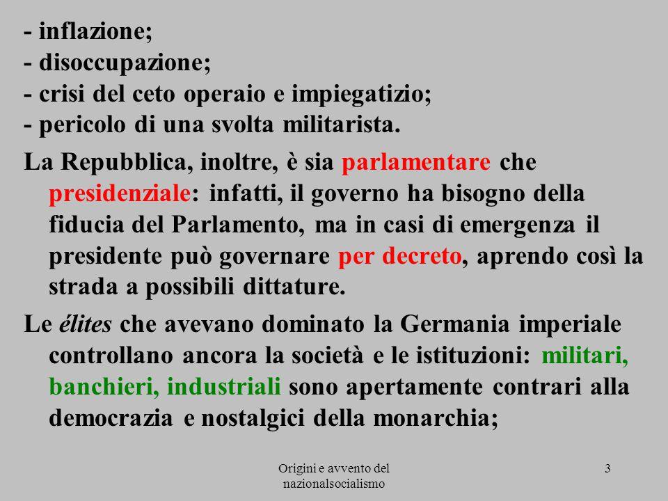Origini e avvento del nazionalsocialismo 3 - inflazione; - disoccupazione; - crisi del ceto operaio e impiegatizio; - pericolo di una svolta militaris