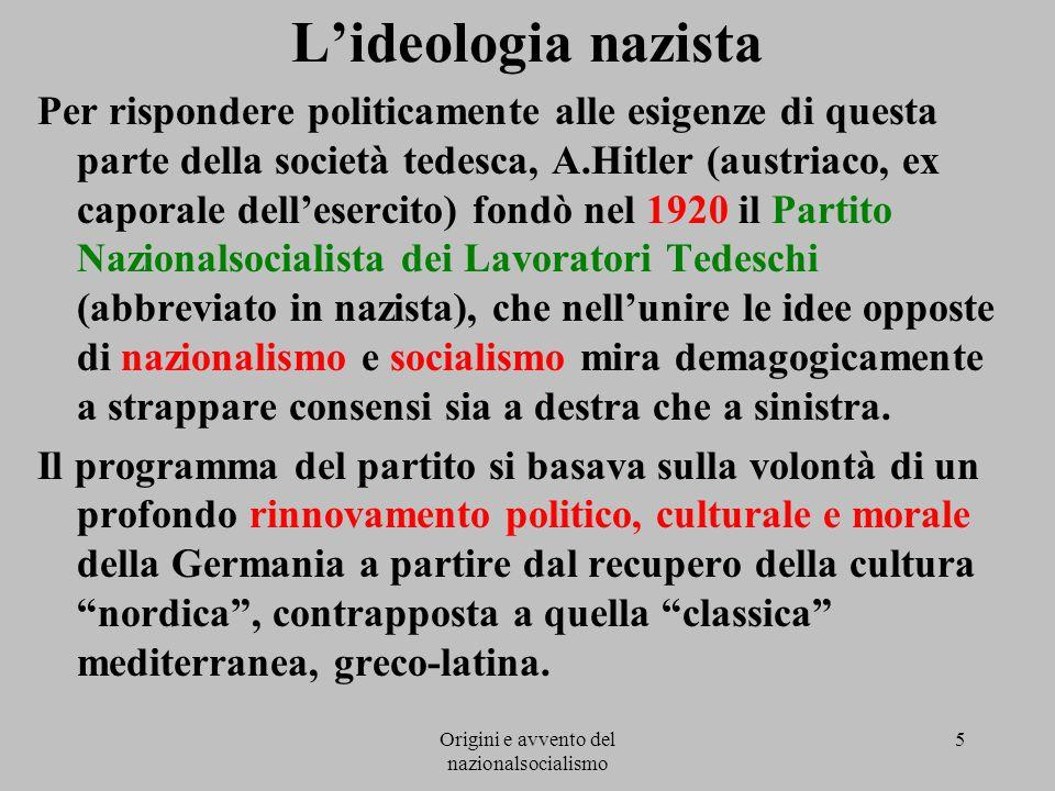 Origini e avvento del nazionalsocialismo 5 L'ideologia nazista Per rispondere politicamente alle esigenze di questa parte della società tedesca, A.Hit
