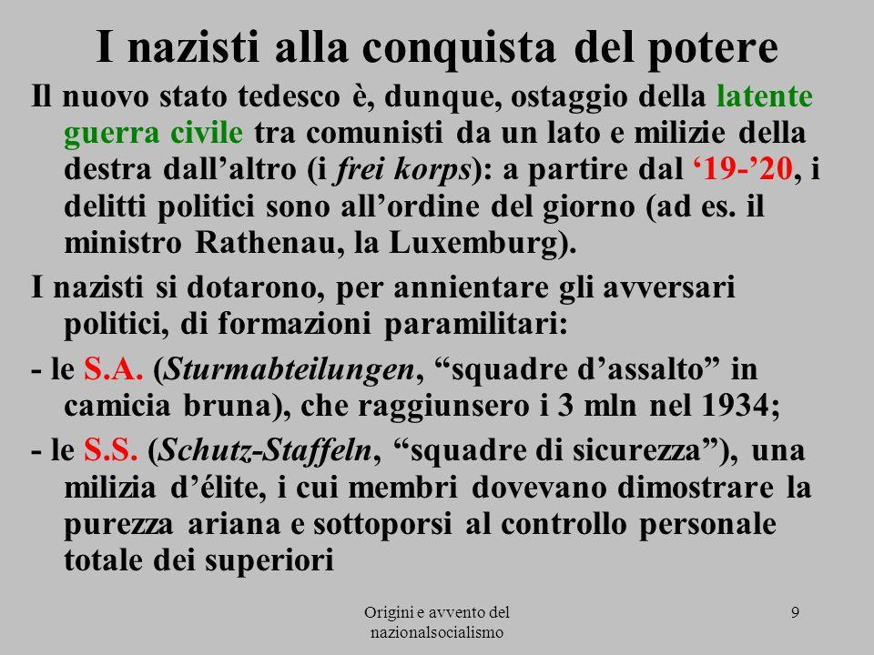 Origini e avvento del nazionalsocialismo 9 I nazisti alla conquista del potere Il nuovo stato tedesco è, dunque, ostaggio della latente guerra civile