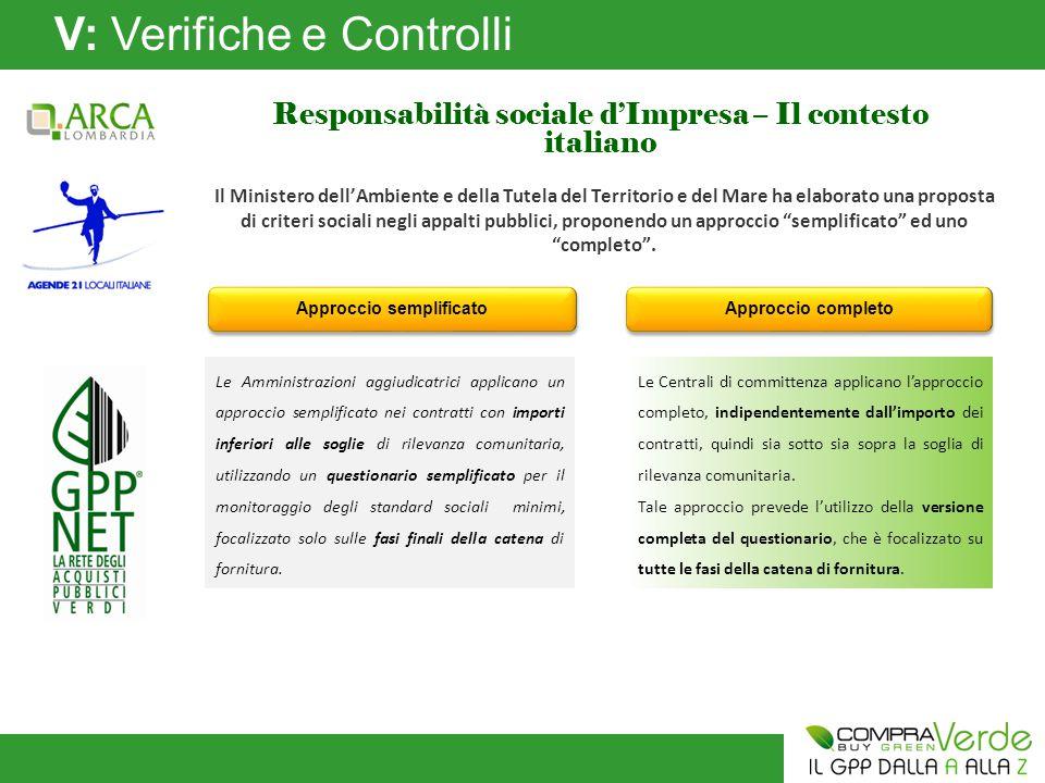 V: Verifiche e Controlli Responsabilità sociale d'Impresa – Il contesto italiano Il Ministero dell'Ambiente e della Tutela del Territorio e del Mare ha elaborato una proposta di criteri sociali negli appalti pubblici, proponendo un approccio semplificato ed uno completo .