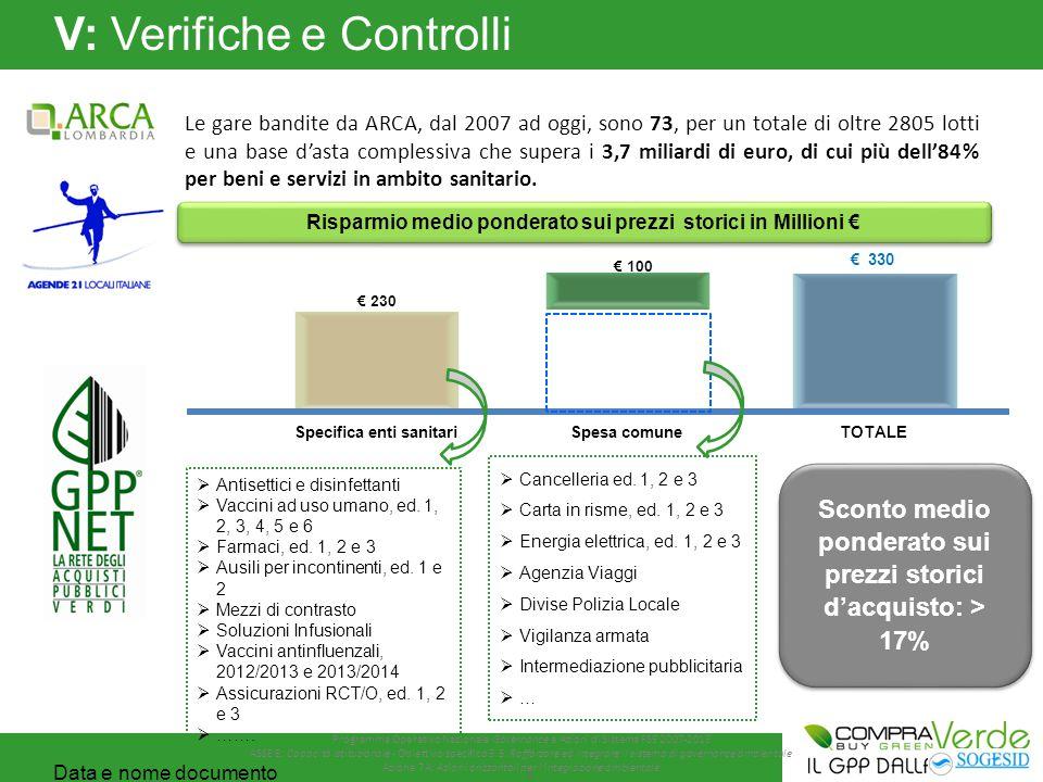 V: Verifiche e Controlli Le gare bandite da ARCA, dal 2007 ad oggi, sono 73, per un totale di oltre 2805 lotti e una base d'asta complessiva che supera i 3,7 miliardi di euro, di cui più dell'84% per beni e servizi in ambito sanitario.