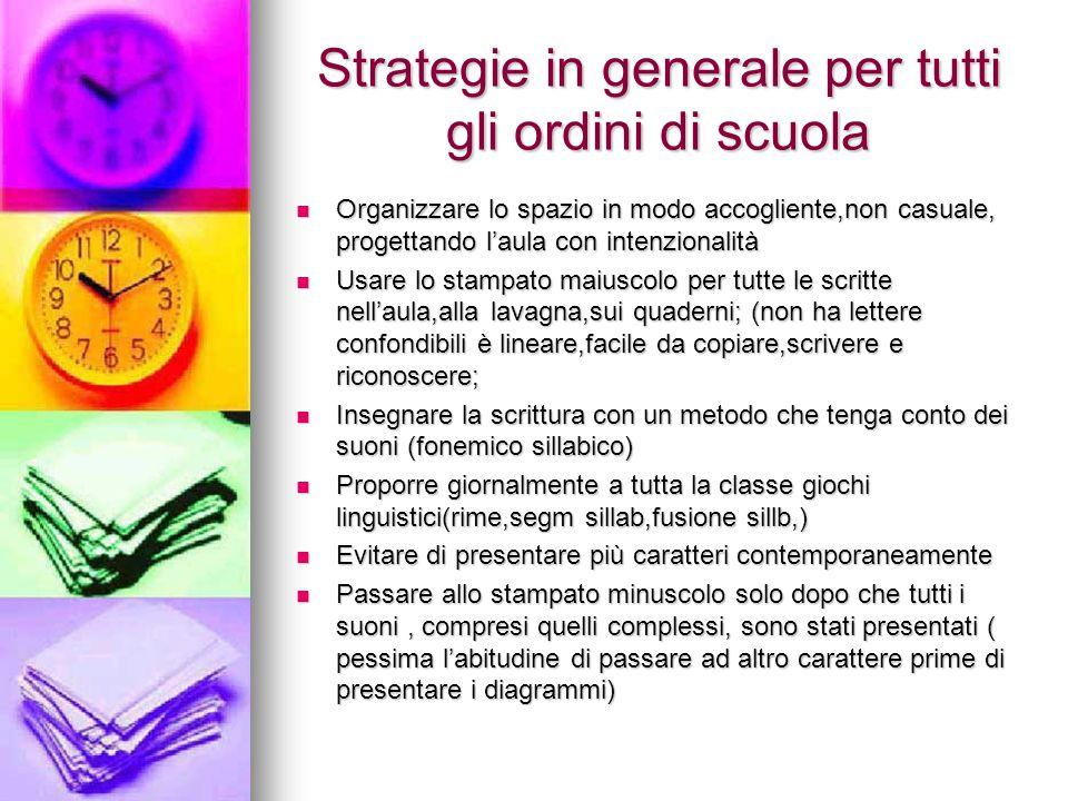 Strategie in generale per tutti gli ordini di scuola Organizzare lo spazio in modo accogliente,non casuale, progettando l'aula con intenzionalità Orga