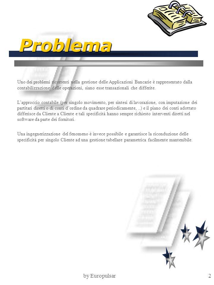 by Europulsar3 Obiettivi L'obiettivo primario del prodotto è rappresentato dalla riconducibilità di ciascuna operazione contabile ad uno schema di contabilizzazione applicabile alle Entità coinvolte nell'operazione (ad esempio: importo, commissioni e spese della stessa operazione possono movimentare voci di mastro diverse).