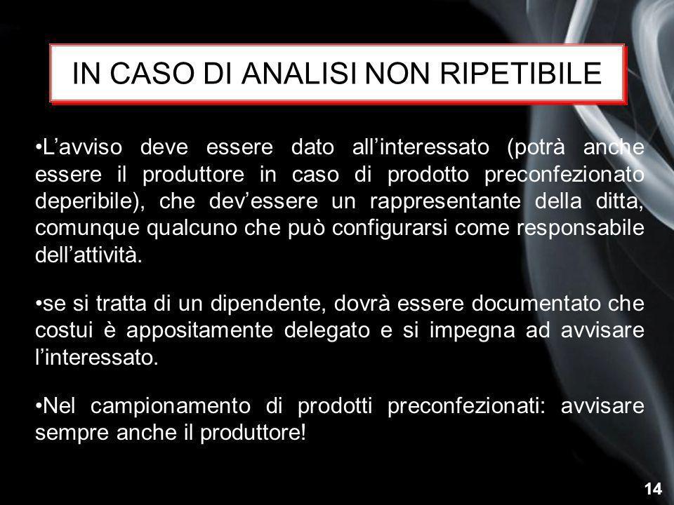 14 IN CASO DI ANALISI NON RIPETIBILE L'avviso deve essere dato all'interessato (potrà anche essere il produttore in caso di prodotto preconfezionato d