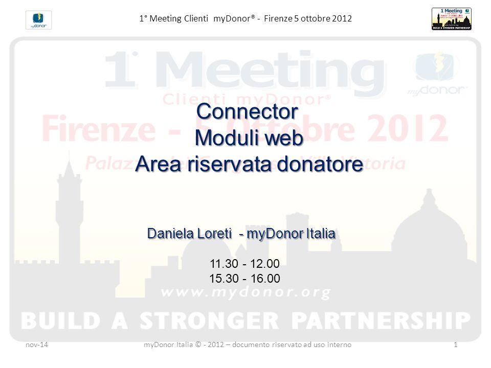 1° Meeting Clienti myDonor® - Firenze 5 ottobre 2012Connector Moduli web Area riservata donatore Daniela Loreti - myDonor Italia 11.30 - 12.00 15.30 - 16.00 nov-14myDonor Italia © - 2012 – documento riservato ad uso interno1