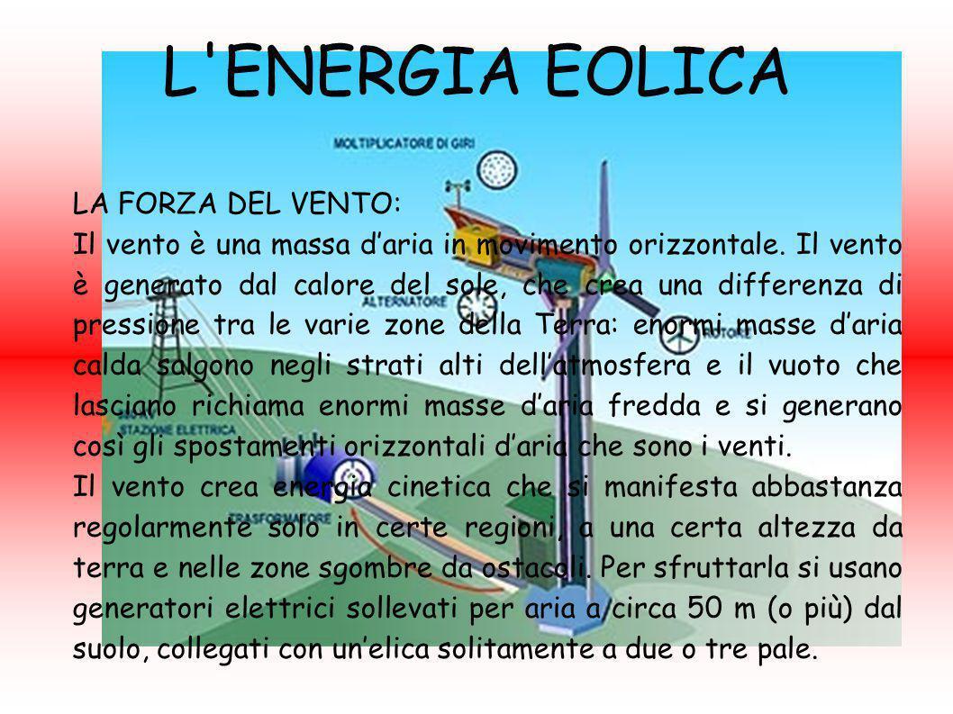L ENERGIA EOLICA Lo sfruttamento del vento, relativamente semplice e poco costoso, è attuato tramite macchine eoliche divisibili in due gruppi distinti in funzione del tipo di modulo base adoperato definito generatore eolico: Generatori eolici ad asse verticale, indipendenti dalla direzione di provenienza del vento; Generatori eolici ad asse orizzontale, in cui il rotore va orientato parallelamente alla direzione di provenienza del vento.