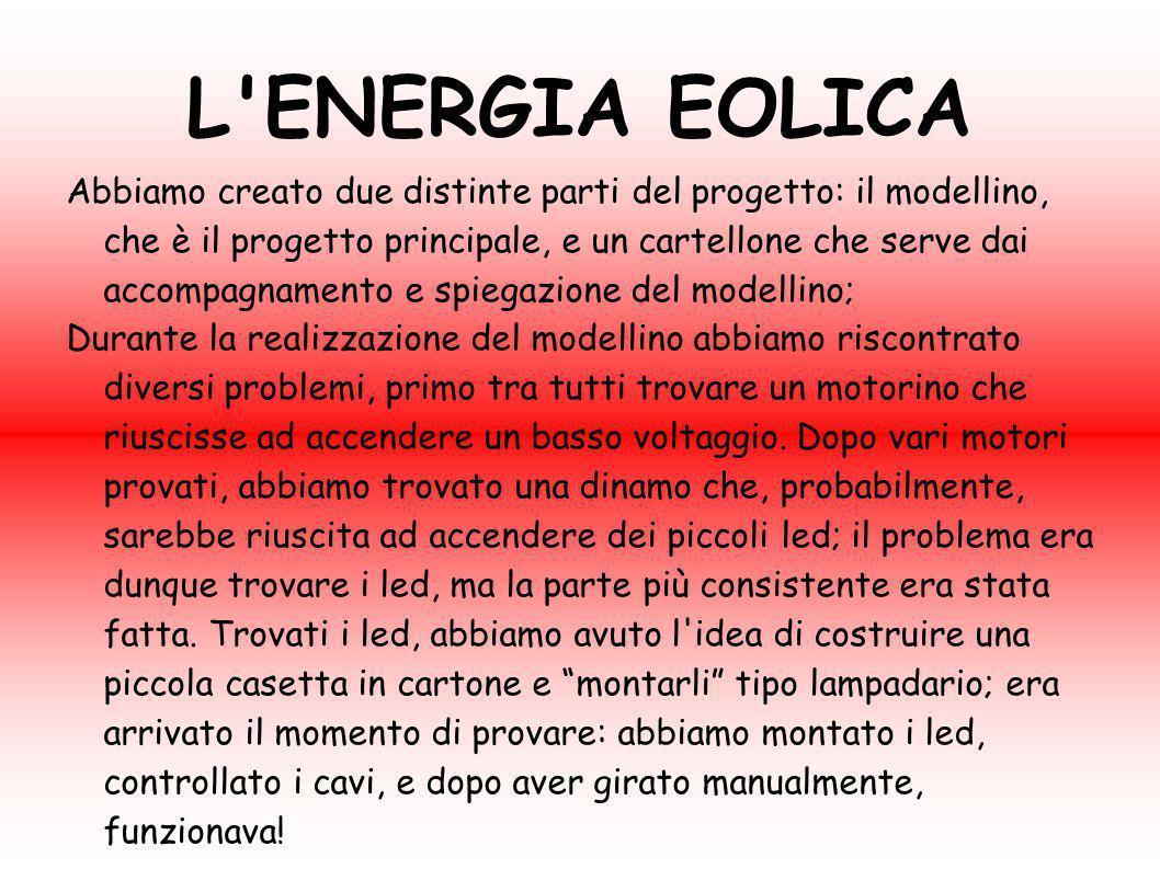L'ENERGIA EOLICA Abbiamo creato due distinte parti del progetto: il modellino, che è il progetto principale, e un cartellone che serve dai accompagnam