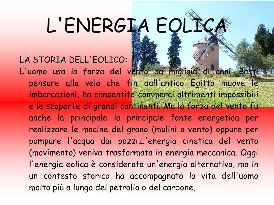 L'ENERGIA EOLICA LA STORIA DELL'EOLICO: L'uomo usa la forza del vento da migliaia di anni. Basti pensare alla vela che fin dall'antico Egitto muove le