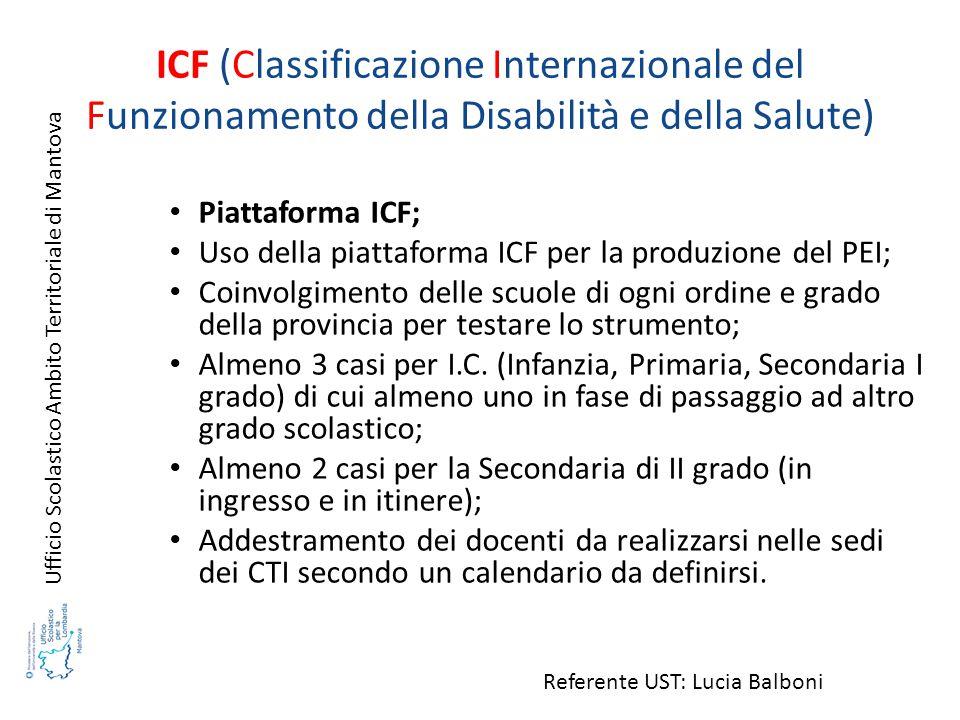 ICF (Classificazione Internazionale del Funzionamento della Disabilità e della Salute) Piattaforma ICF; Uso della piattaforma ICF per la produzione de