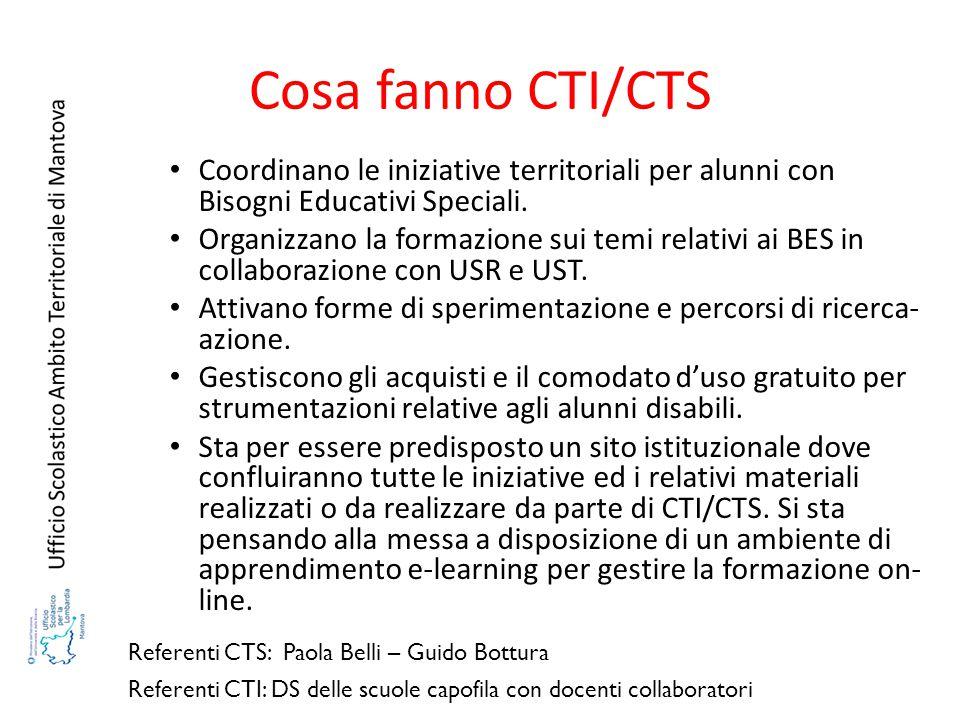 Cosa fanno CTI/CTS Coordinano le iniziative territoriali per alunni con Bisogni Educativi Speciali. Organizzano la formazione sui temi relativi ai BES