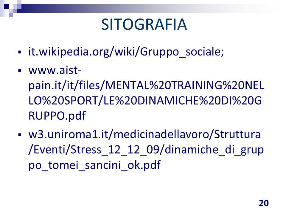 SITOGRAFIA 20  it.wikipedia.org/wiki/Gruppo_sociale;  www.aist- pain.it/it/files/MENTAL%20TRAINING%20NEL LO%20SPORT/LE%20DINAMICHE%20DI%20G RUPPO.pd