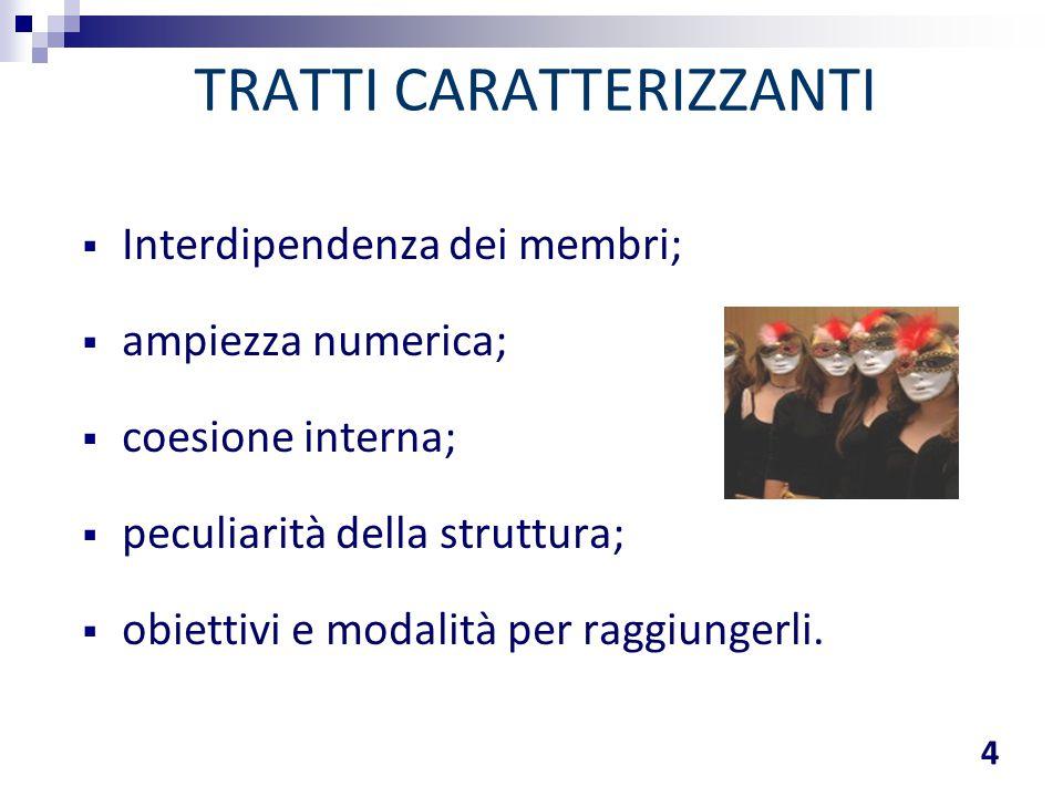 TRATTI CARATTERIZZANTI 4  Interdipendenza dei membri;  ampiezza numerica;  coesione interna;  peculiarità della struttura;  obiettivi e modalità