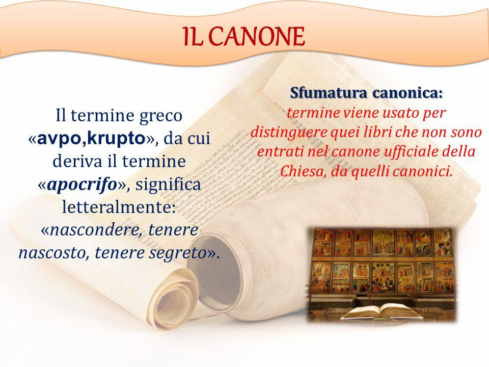 IL CANONE Il termine greco « avpo,krupto », da cui deriva il termine «apocrifo», significa letteralmente: «nascondere, tenere nascosto, tenere segreto».