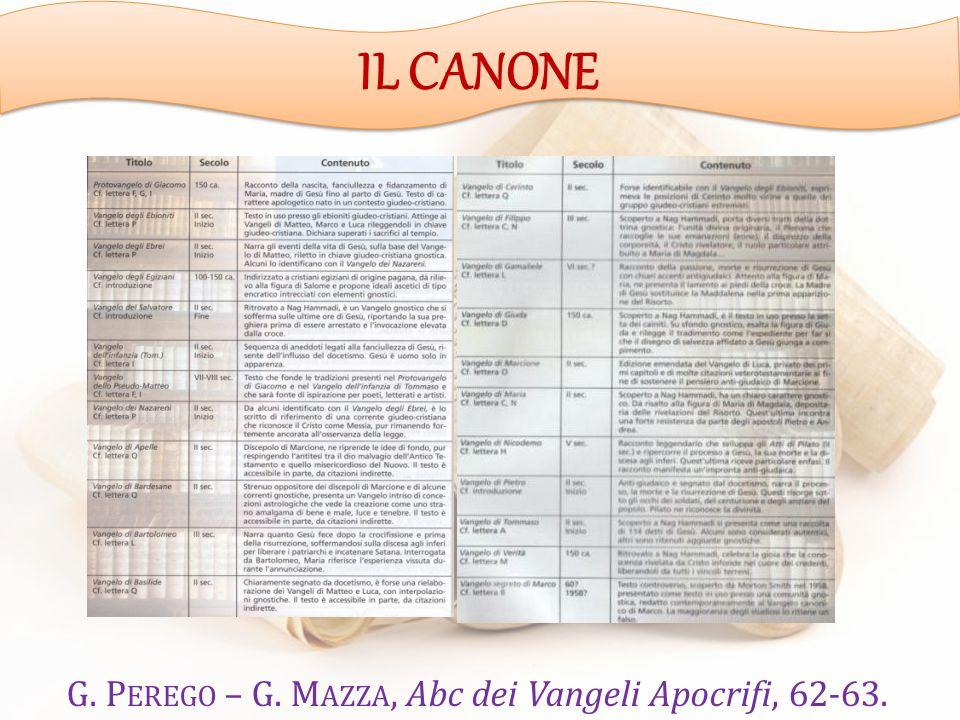 G. P EREGO – G. M AZZA, Abc dei Vangeli Apocrifi, 62-63. IL CANONE