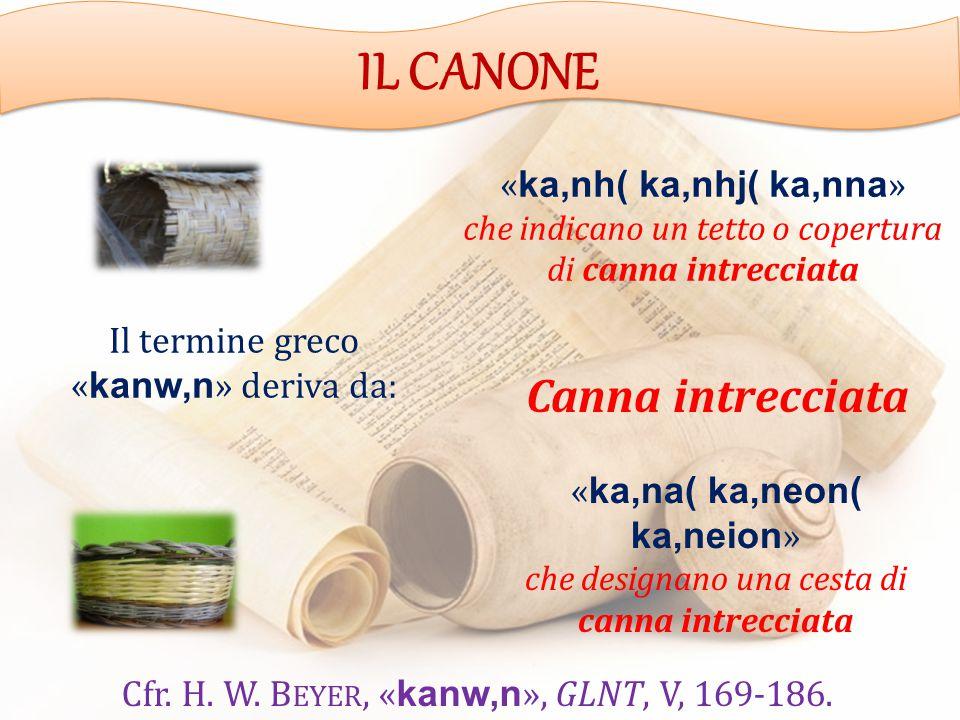 Il termine greco « kanw,n » deriva da: « ka,nh( ka,nhj( ka,nna » che indicano un tetto o copertura di canna intrecciata « ka,na( ka,neon( ka,neion » che designano una cesta di canna intrecciata Canna intrecciata Cfr.