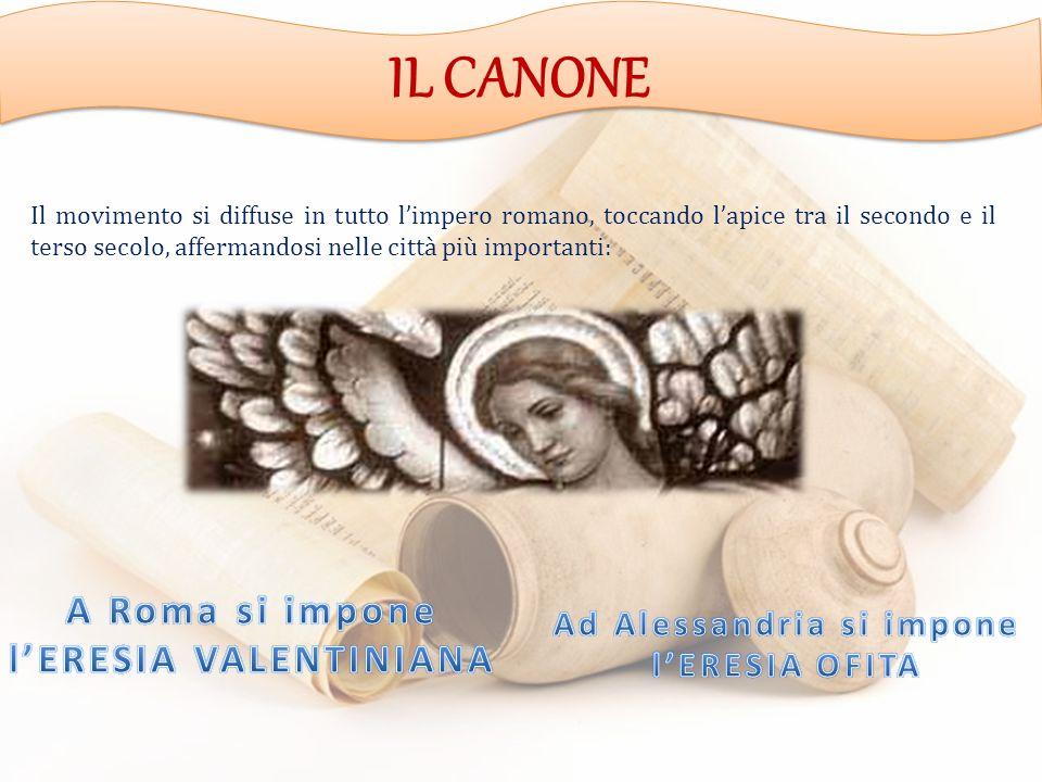 IL CANONE Il movimento si diffuse in tutto l'impero romano, toccando l'apice tra il secondo e il terso secolo, affermandosi nelle città più importanti: