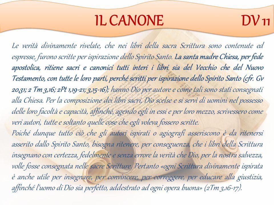 IL CANONE DV 11 Le verità divinamente rivelate, che nei libri della sacra Scrittura sono contenute ed espresse, furono scritte per ispirazione dello Spirito Santo.