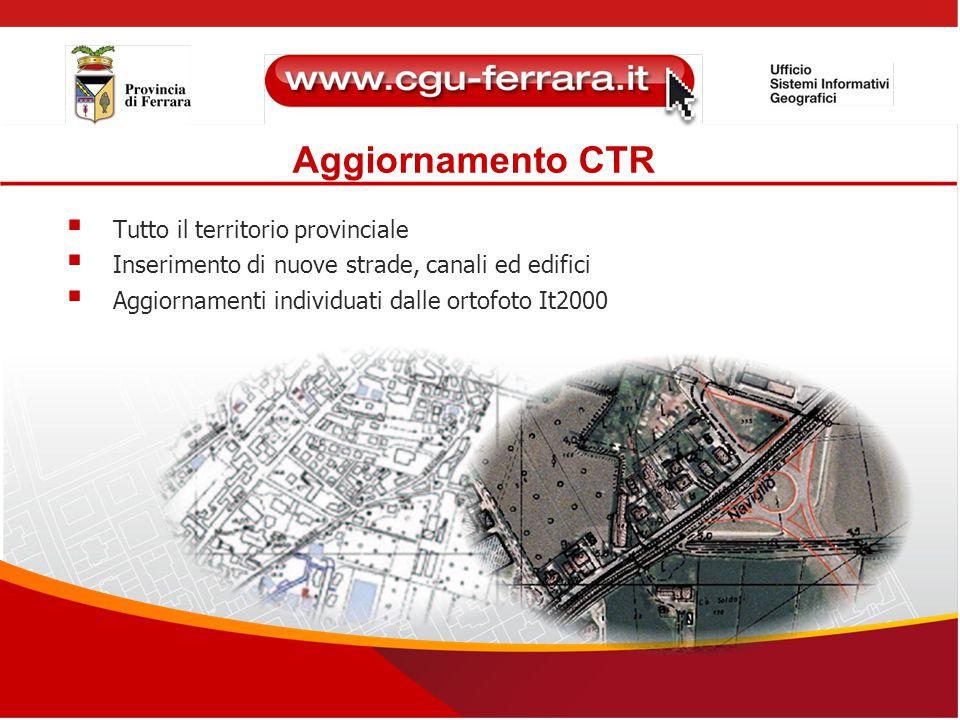Aggiornamento CTR  Tutto il territorio provinciale  Inserimento di nuove strade, canali ed edifici  Aggiornamenti individuati dalle ortofoto It2000
