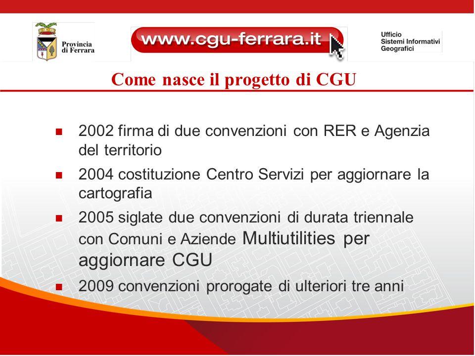 Come nasce il progetto di CGU 2002 firma di due convenzioni con RER e Agenzia del territorio 2004 costituzione Centro Servizi per aggiornare la cartog