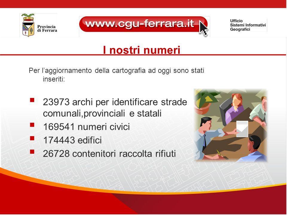 I nostri numeri Per l'aggiornamento della cartografia ad oggi sono stati inseriti:  23973 archi per identificare strade comunali,provinciali e statal