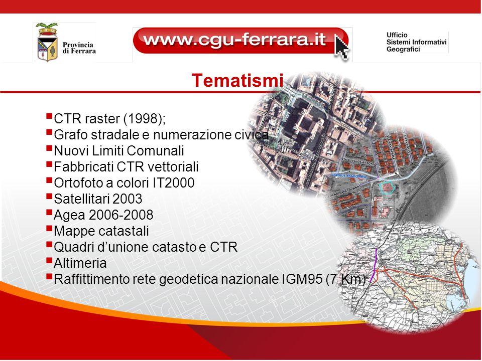 Tematismi  CTR raster (1998);  Grafo stradale e numerazione civica  Nuovi Limiti Comunali  Fabbricati CTR vettoriali  Ortofoto a colori IT2000 