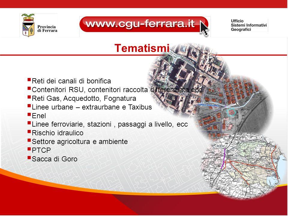 Tematismi  Reti dei canali di bonifica  Contenitori RSU, contenitori raccolta differenziata,ecc.  Reti Gas, Acquedotto, Fognatura  Linee urbane –