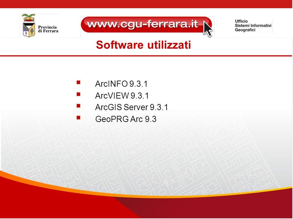 Software utilizzati  ArcINFO 9.3.1  ArcVIEW 9.3.1  ArcGIS Server 9.3.1  GeoPRG Arc 9.3
