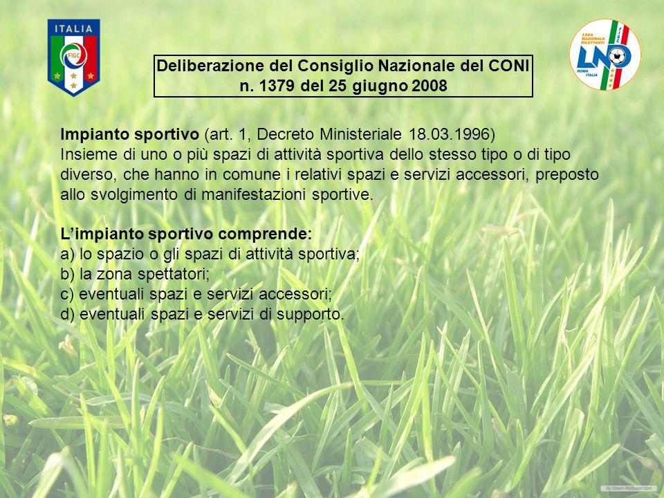 Deliberazione del Consiglio Nazionale del CONI n.1379 del 25 giugno 2008 Impianto sportivo (art.
