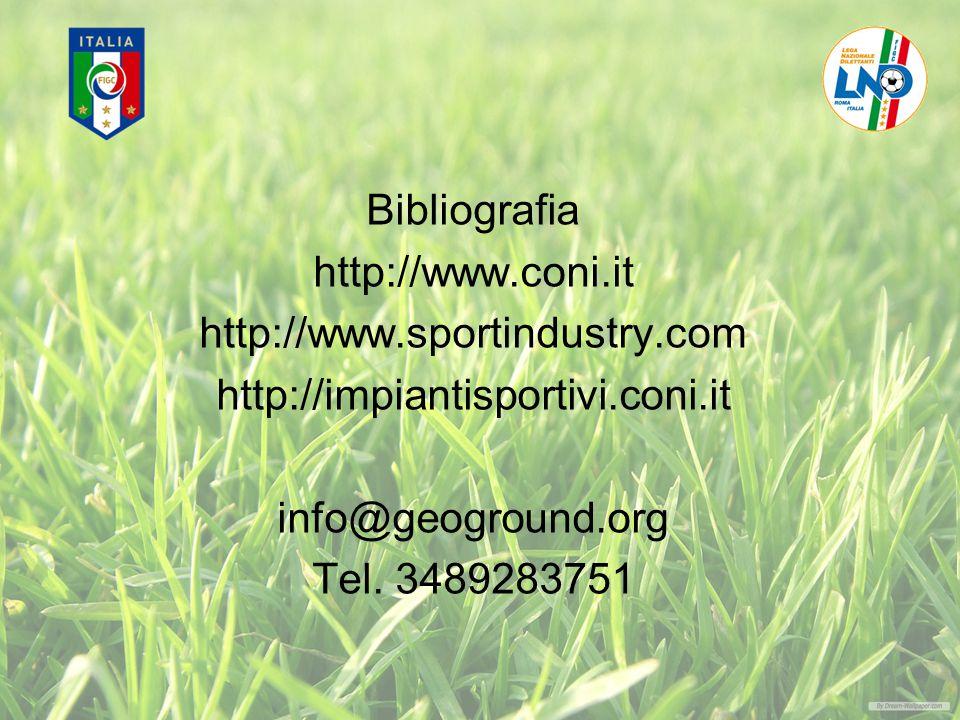 Bibliografia http://www.coni.it http://www.sportindustry.com http://impiantisportivi.coni.it info@geoground.org Tel.
