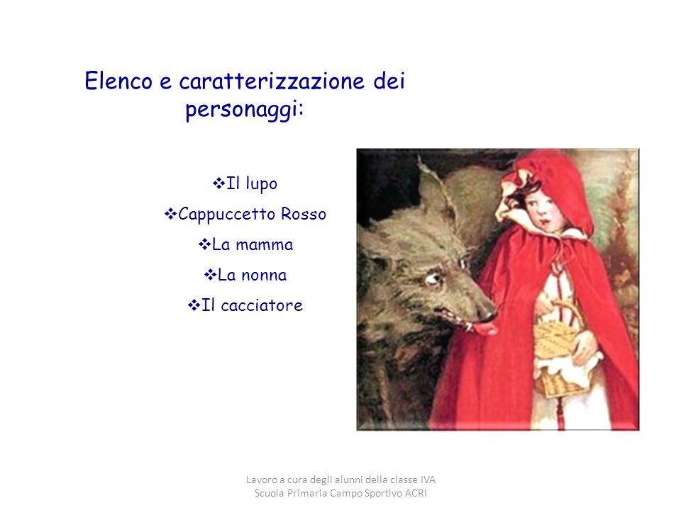 Elenco e caratterizzazione dei personaggi:  Il lupo  Cappuccetto Rosso  La mamma  La nonna  Il cacciatore